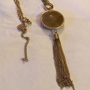 Long tassel gem necklace